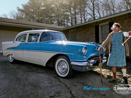 Howard's Auto Body Print Ad -  Vintage car