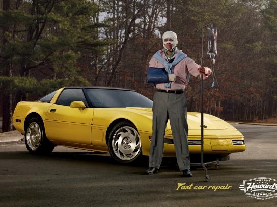 Howard's Auto Body Print Ad -  Sports car