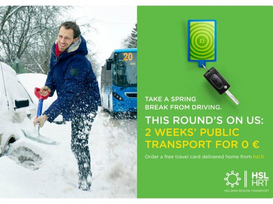 Helsinki Region Transport Print Ad -  Take a spring break from driving, 1