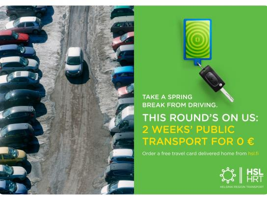 Helsinki Region Transport Print Ad -  Take a spring break from driving, 4