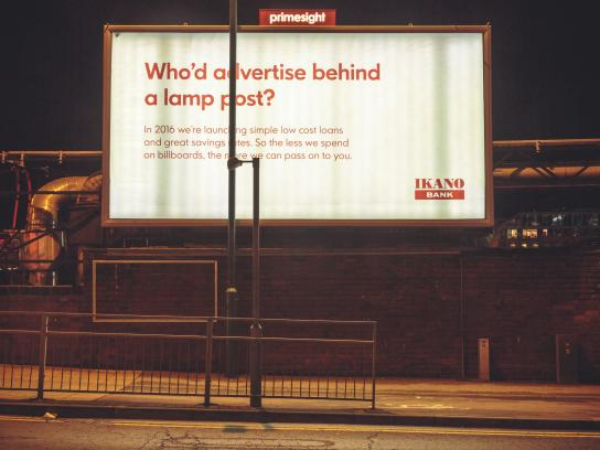 Ikano Bank Outdoor Ad -  Who'd advertise behind a lamp post?