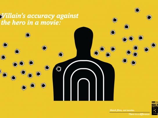 NYILFF Outdoor Ad -  Villain's accuracy against the hero in a movie