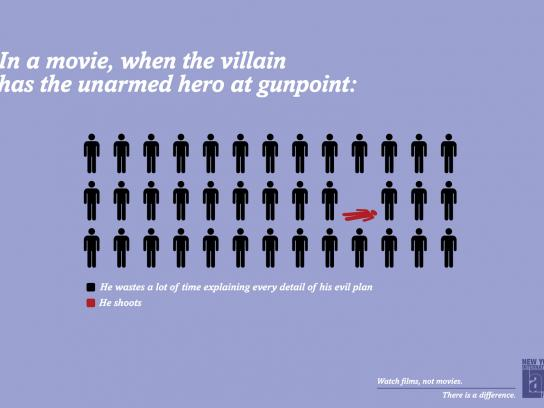NYILFF Outdoor Ad -  In movies, when a villain has the unarmed hero at gunpoint