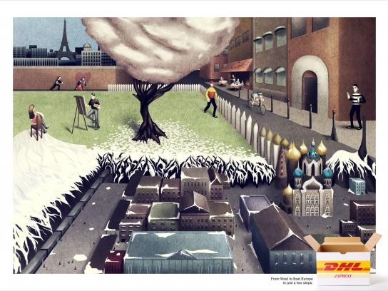 DHL Print Ad -  From West to East Europe in just a few steps