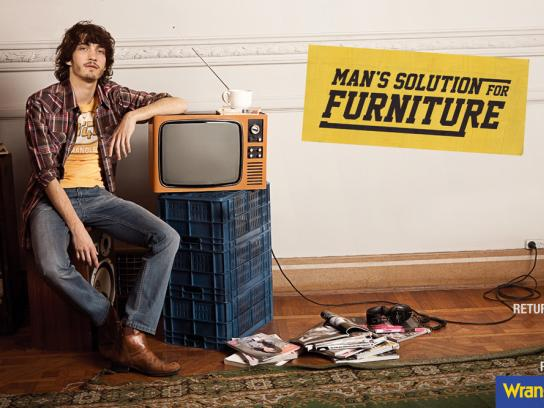 Wrangler Print Ad -  Man's solution for furniture