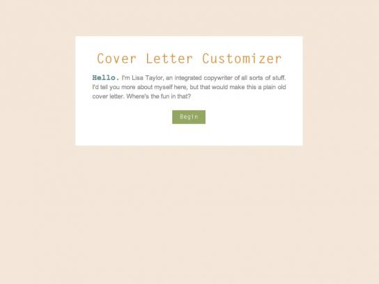 Lisa Taylor Digital Ad -  Cover Letter Customizer