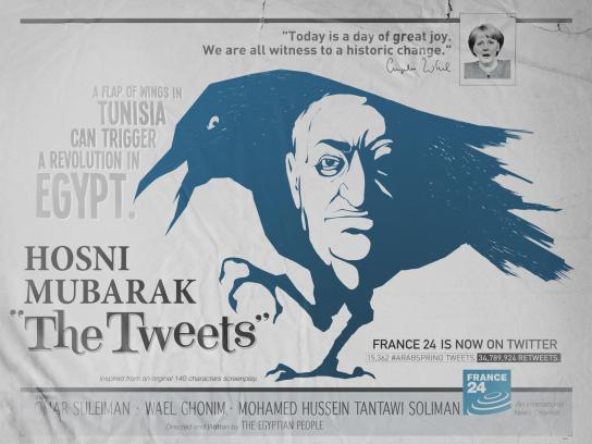 France 24 Print Ad -  The Birds, Mubarak