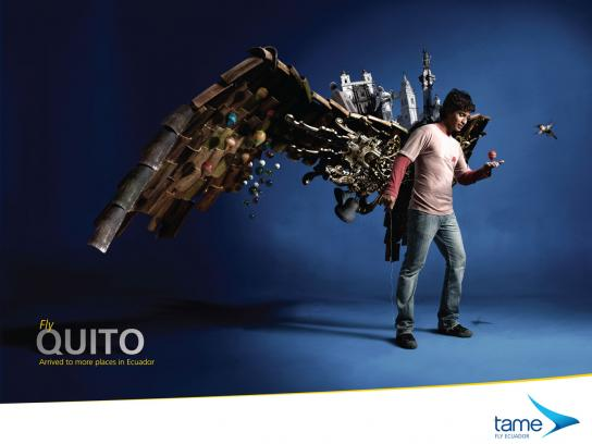 Tame Ecuador Airlines Print Ad -  Fly Quito
