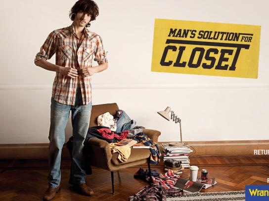 Wrangler Print Ad -  Man's solution for closet