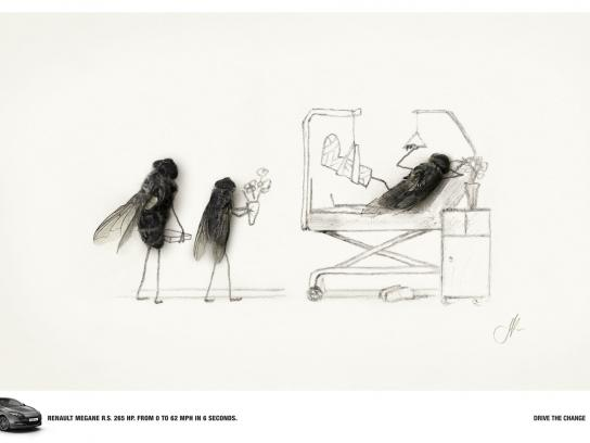 Renault Print Ad -  Flies, Broken leg