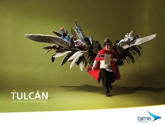 Tame Ecuador Airlines Print Ad -  Fly Tulcán