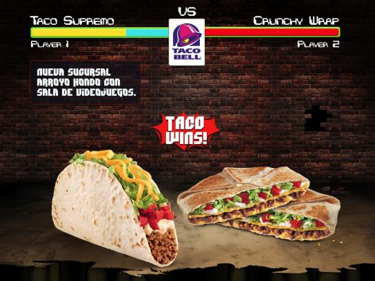 Taco Bell Print Ad -  Arroyo Hondo with video game arcade, 2