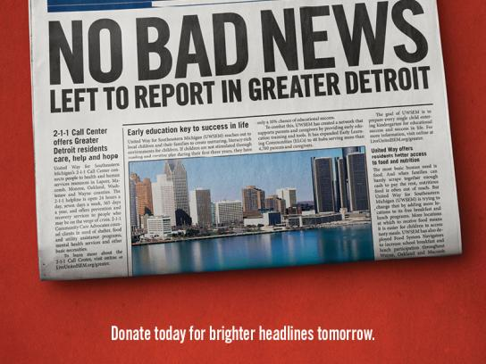 United Way Print Ad -  No bad news