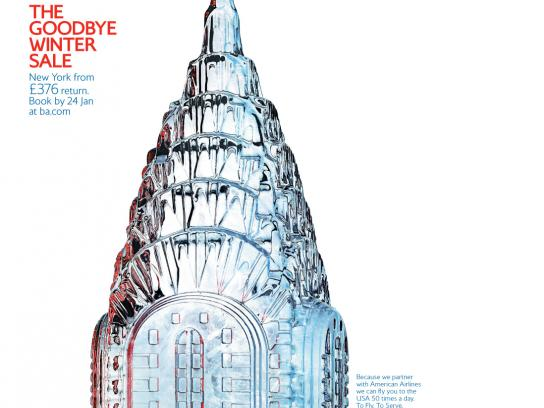 British Airways Print Ad -  January sale, Chrysler building