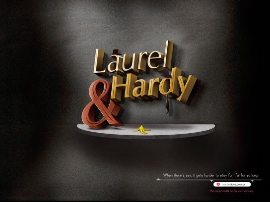 Second Love Print Ad -  Couple, Laurel & Hardy