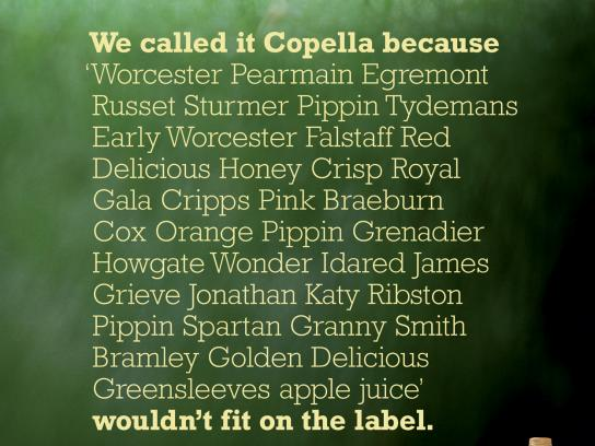 Copella Print Ad -  The fruit of our knowledge, Label