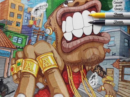 Sharpie Print Ad -  Choose your Story, Rich Rapper / Poor Rapper