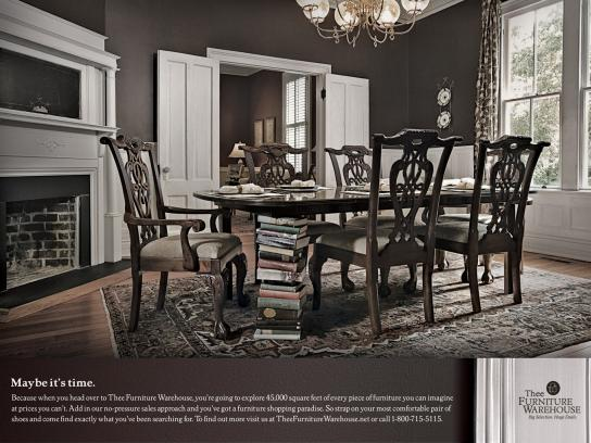 Thee Furniture Warehouse Print Ad -  Dining room