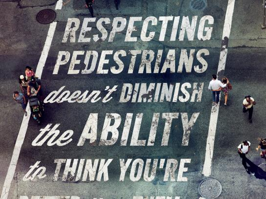 BikeNYC Outdoor Ad -  Respecting pedestrians