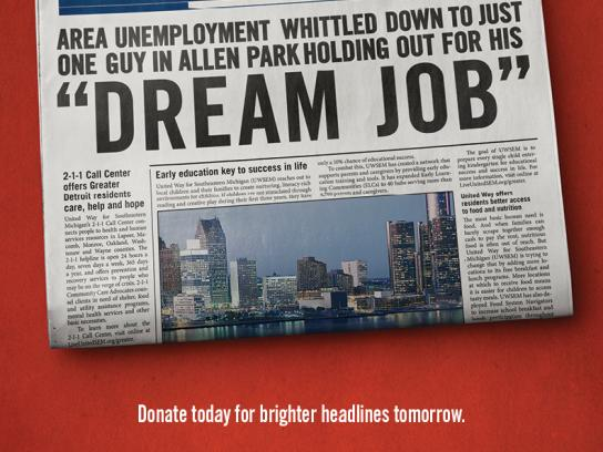 United Way Print Ad -  Dream job