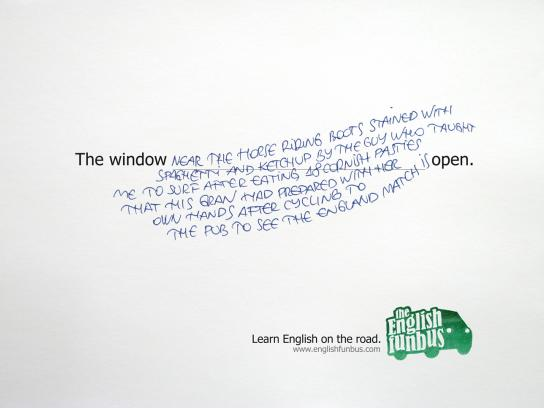 The English FunBus Print Ad -  Window
