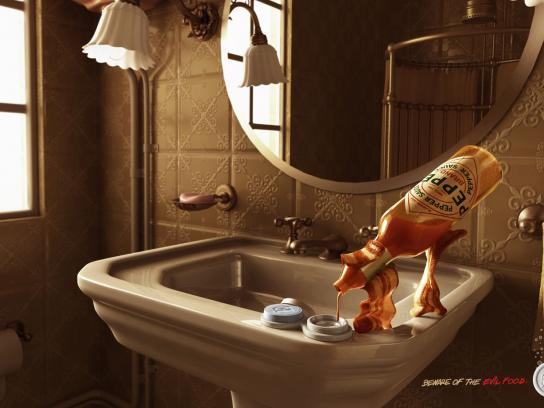 Alka Seltzer Print Ad -  Beware of the evil food, Bacon