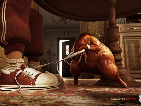 Alka Seltzer Print Ad -  Beware of the evil food, Chicken