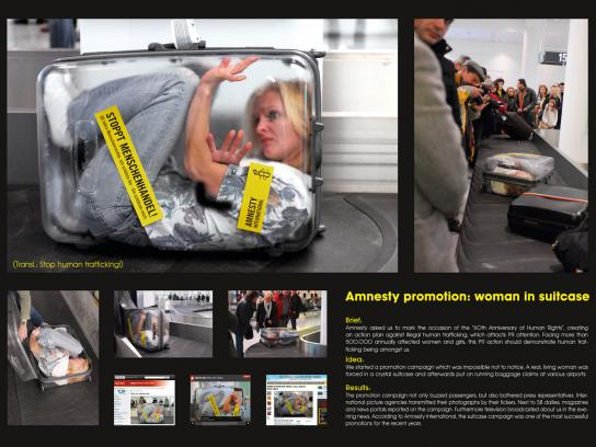 Amnesty International Ambient Ad -  Woman in a suitcase