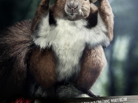 Stadt Northeim Print Ad -  Annoyed forester, Squirrel