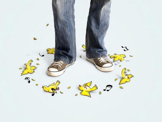 Aspirin Print Ad -  Yellow canary