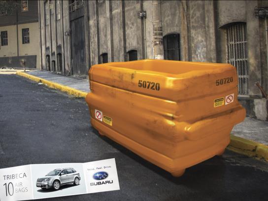 Subaru Print Ad -  Trash bin