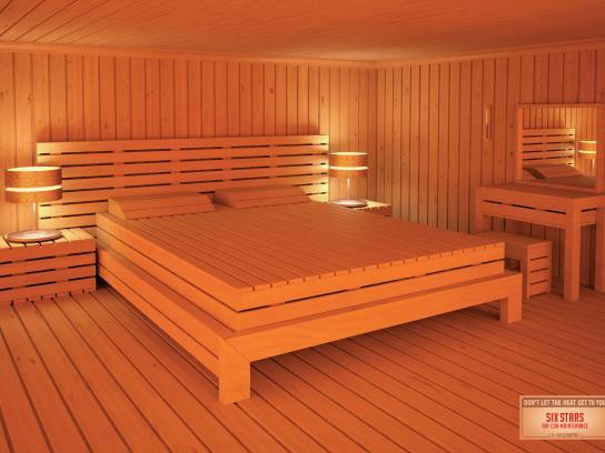 Six Stars Print Ad -  Bedroom sauna