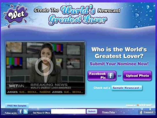 WET Digital Ad -  World's Greatest Lover web app