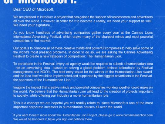 Humanitarian Lion Print Ad -  CEO Microsoft