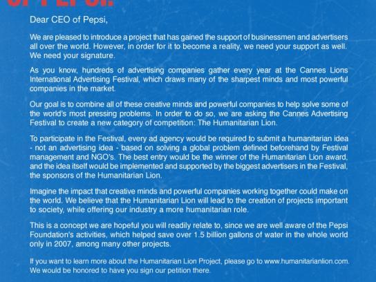 Humanitarian Lion Print Ad -  CEO Pepsi