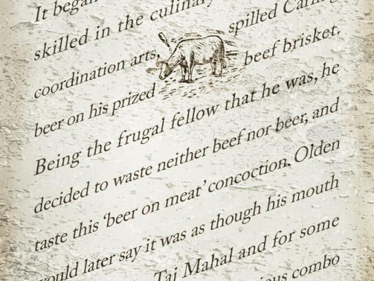 Carling Print Ad -  Great Beer Decisions, Beer on meat