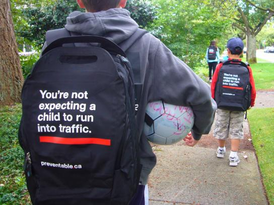 The Community Against Preventable Injuries Ambient Ad -  Backpack