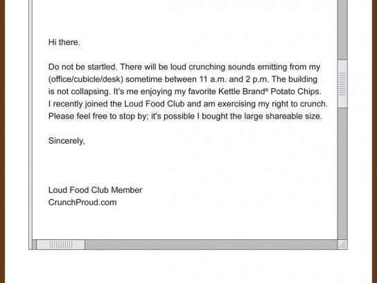 Kettle Print Ad -  The Loud Food Club, Email