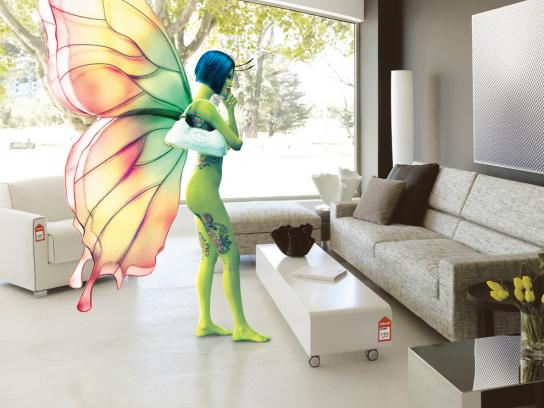 Connect Furniture Print Ad -  Butterfly girl avatar
