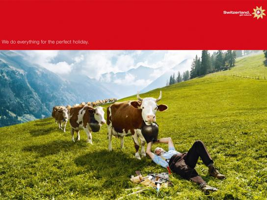 Swiss Tourism Print Ad -  We'll Do Anything, Cowbell