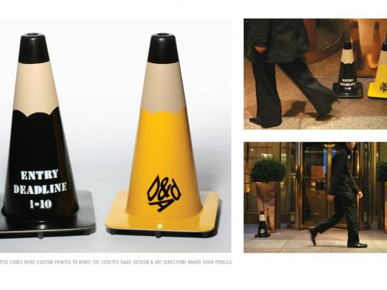 D&AD Ambient Ad -  Pencil traffic-cones