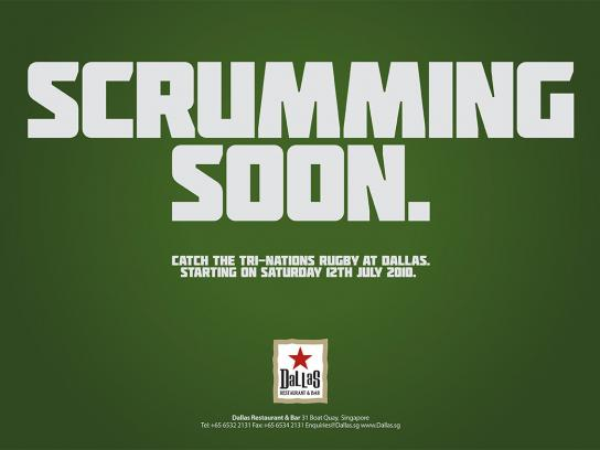 Dallas Restaurant & Bar Print Ad -  Tri-Nations Rugby 2010