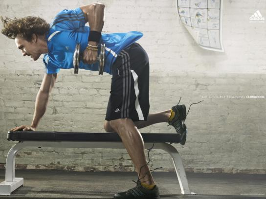 Adidas Print Ad -  Aire cooled training, Dumbbell