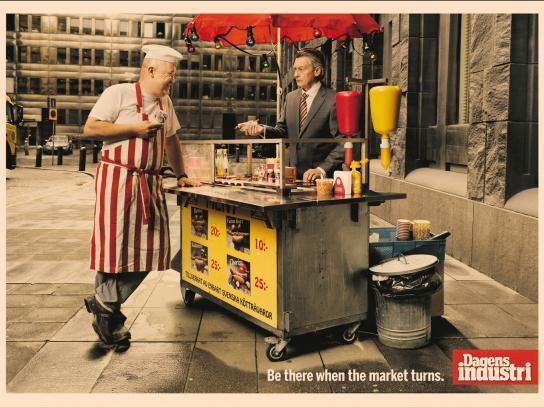 Dagens Industri Print Ad -  Hot dog stand