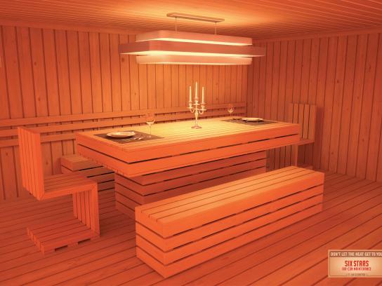 Six Stars Print Ad -  Dining room sauna