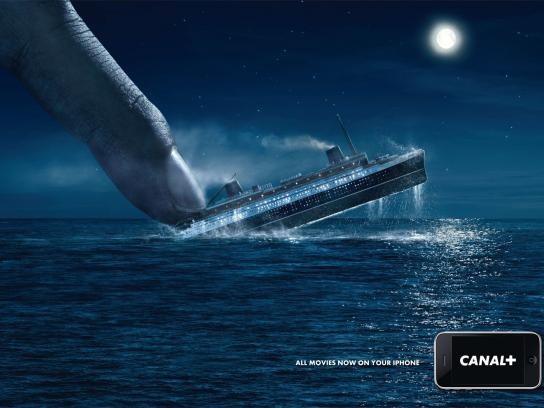 Canal+ Print Ad -  iPhone, Titanic