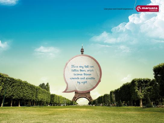 Marsans Viagens Print Ad -  Live your own travel experience, Eiffel