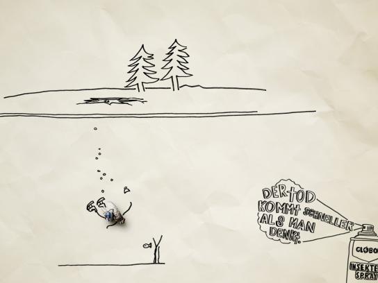 Globol Print Ad -  Dead flies, Ice skater