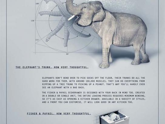 Fisher & Paykel Print Ad -  Elephant