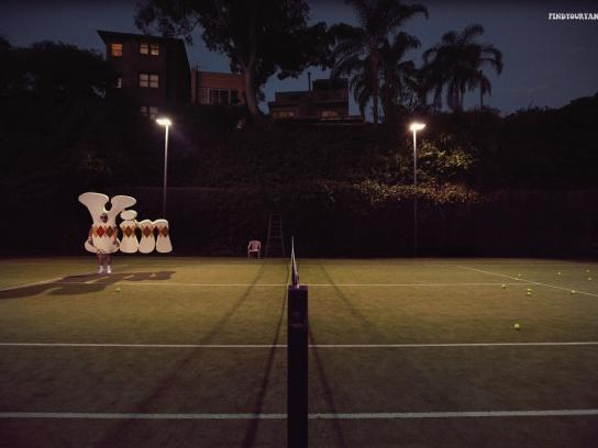 FindYourYang.com Print Ad -  It's harder on your own, Tennis